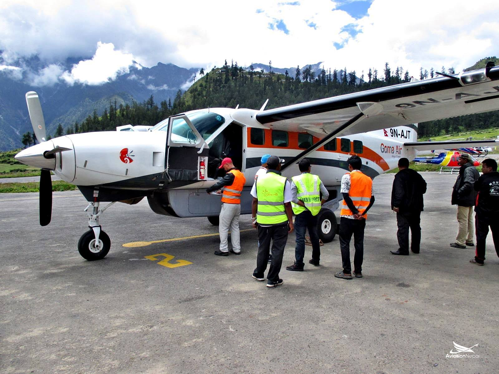 Goma air being inspected by Authorities at Simikot Airport.