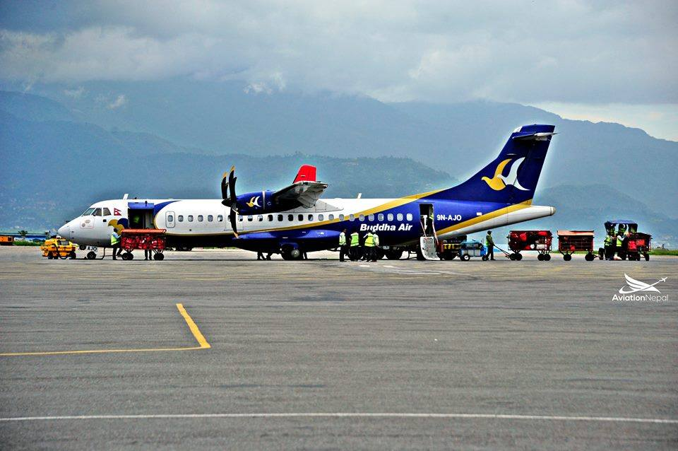 Buddha Air, a domestic carrier at Domestic Ramp