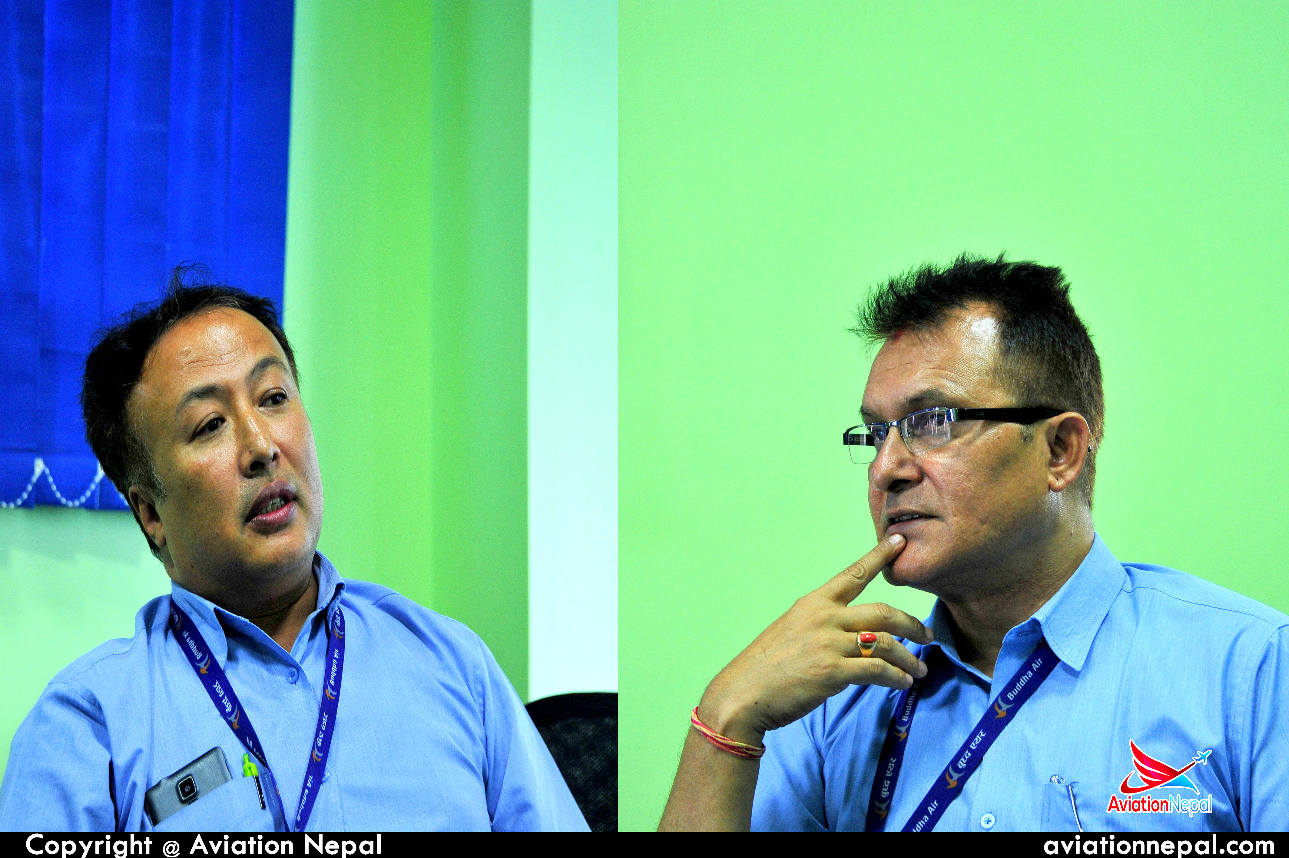 Buddha Air's Senior QA Engineer 'Upendra Lal Shrestha' and Manager of Technical Department 'Santosh Kumar Khati'
