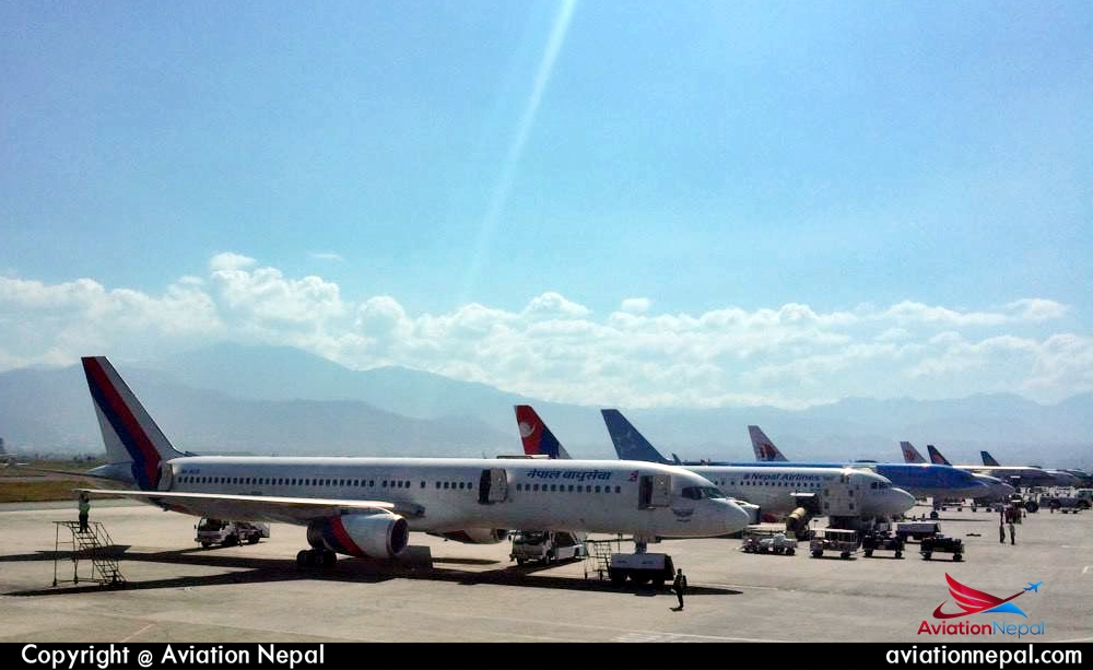 Tribhvan Int'l Airport Parking bay full -aviationnepal