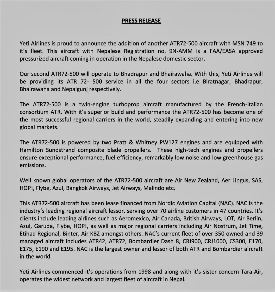 Yeti Airlines' second ATR 72-500 Press Release with Photo